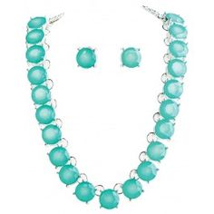 Silver Blue Faceted Necklace Set