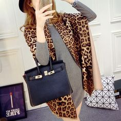 Leopard Design Two-sided Women Winter Scarf Tippet Ladies Shawl Thickness Cashmere Poncho Big Wraps Fashion Neckerchief C294