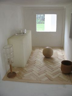 Which is cooler, iceblock stick parquet flooring or keeping it plain old white?  I know which is easier. . .