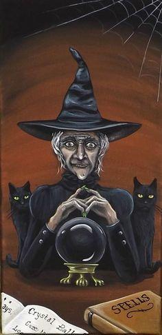 witch.quenalbertini: Hand Painted Halloween Witch Folk Art | eBay