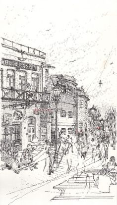 The Blue Anchor, by the Thames in Hammersmith. Another beautiful drawing by Keira Rathbone using her typewriter.