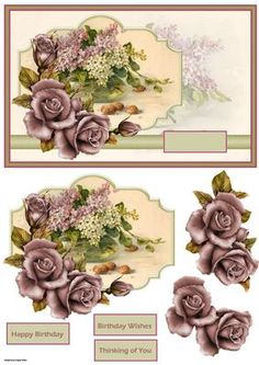 basket of lilacs card with decoupage on Craftsuprint designed by Angela Wake - basket of lilacs card with decoupage and sentiment tags - Now available for download!
