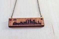 New York Skyline Wood Etch Necklace  | New York | New York City Jewelry