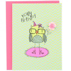 In With The New owl birthday card