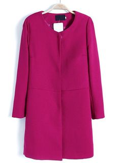 Rose Red Long Sleeve Simple Design Trench Coat US$41.97