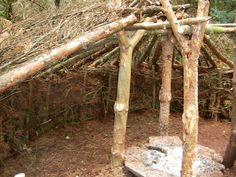 bush shelter   Here you can see the construction of the roof. We had also added a ...