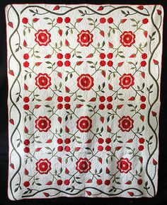 x Fabulous Antique 1860 Applique Rose Quilt Old Quilts, Antique Quilts, Vintage Quilts, Civil War Quilts, American Quilt, Flower Quilts, Green Quilt, Hand Applique, Traditional Quilts