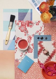 Embrace a beautifully bright scheme in your bedroom with floral print and accents of coral. Color Pairing, Graphic Patterns, Inspiration Boards, Mood Boards, Beautiful Homes, Florals, Tiles, Floral Prints, Delicate