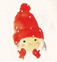 Red Hat & Snow - by Chihiro Iwasaki - (winter, illustration, mittens)