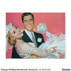 De vintage Jonggehuwden van het Huwelijk, de 10,8x13,9 Uitnodiging Kaart