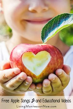 Free apple songs, rhymes, and educational videos for a variety of ages; perfect for homeschool or classroom for an apple theme - Living Montessori Now Preschool Songs, Preschool At Home, Preschool Learning, Johnny Appleseed Song, Character Education Videos, Harry Kindergarten, Apple Song, Fruit Song, Everything Preschool