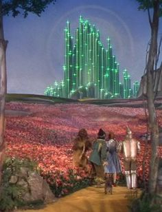 Wizard of Oz Camporee Cabin decoration ideas — use green christmas lights to outline the cabin — Emerald city wizard of oz