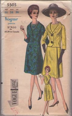 Vogue 5505 Vintage 60's Sewing Pattern DIVINE Special Design Jackie O Chanel Style Princess Seams Party Dress, Fitted Stand Away Collar Suit Jacket #MOMSPatterns
