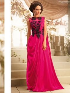 Unique Fuchsia Gown | INDIAN FASHION,INDIAN WEDDING DRESS,SALWAR KAMEEZ, SAREES,LEHENGA CHOLI,SHERWANIS,WEDDING INDIANS DRESSES