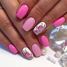 Bright summer nails, Cheerful nails, Drawings on nails, flower nail art, Manicure by summer dress Bright Pink Nails, Pink Glitter Nails, Pink Nail Art, Flower Nail Art, Diamond Glitter, Pink Manicure, Pink Nail Designs, Cool Nail Designs, Fingernail Designs
