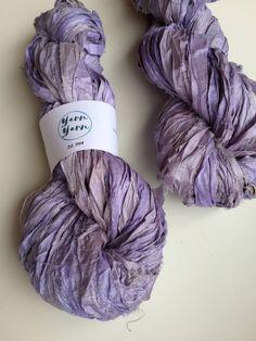 Silk sari ribbon, lavender, premium quality, jewelry making ribbon, knitting ribbon, ethical yarn, recycled yarn. 200g by Yarnyarnyarns on Etsy