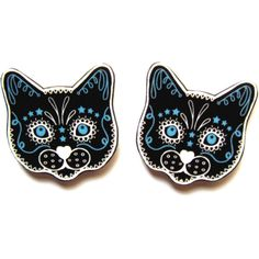 Sugar Skull Style Black Cat Earrings by Dolly Cool Kitty Day of the... ($9) ❤ liked on Polyvore featuring jewelry, earrings, accessories, post earrings, skull jewelry, plastic post earrings, dog jewelry and dog earrings