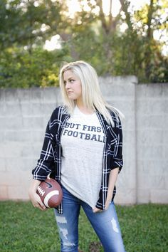 our BUT FIRST FOOTBALL TEE is perfect for any game day event! #football #gameday