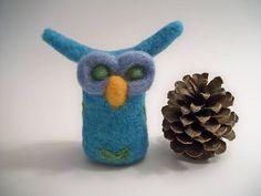 Needle Felted Owl Whimsical Bird Owl Figure