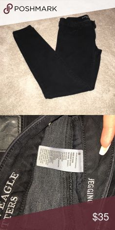 American Eagle Jeggings Black, super stretchy, American Eagle Jeggings! some of my favorite pair of jeans that I just got too small for! gently worn, still great quality! American Eagle Outfitters Jeans Skinny