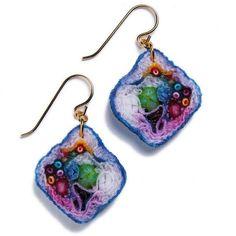 Purple Daze Small Diamond Fabric Jewels Earrings