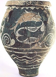 'Kamares Ware' Jar: Phaistos, Crete. 1750 BCE. The extremely fine palace pottery called Kamares Ware, & the Late Minoan all-over patterned Marine Style are the high points of the Minoan pottery tradition