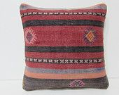 red decorative pillow pastel throw pillow coral kilim pillow 16x16 pillow cover kilim pillow cover ethnic pillow hippie pillow cover 25801