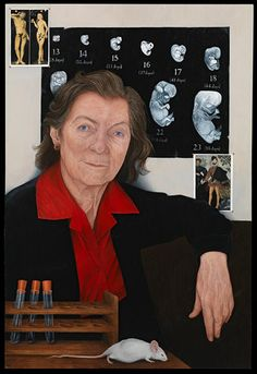 Anne McLaren by Emma Wesley (oil on panel, 2010). McLaren (1927-2007), a Fellow of the Royal Society, was a developmental biologist and leading researcher into fertility. She was the first woman to be made an Officer of the Royal Society.