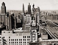 Looking north from the rooftops at Madison and Michigan in 1950.
