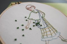 Corinne of So September shares this sweet Irish lass embroidery pattern, just in time for some St. Patrick's Day stitching. The wee shamrocks made from clustered French knots are pure perfection. S...
