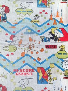 Snoopy Peanuts Arcade Video Games Asteroids Twin Fitted Bed Sheet Hi-Score  #Peanuts