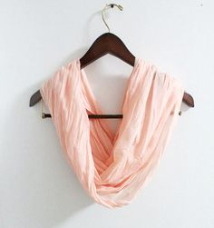 Peach Pink Infinity Scarf Crinkle Scarf Pink Scarf by LitoPinkOwl, $18.00