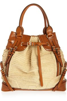 Burberry Prorsum raffia & leather bag