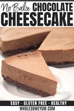 Keto No Bake Cheesecake, No Bake Chocolate Cheesecake, Keto Cake, Brownie Cheesecake, Healthy Cheesecake Recipes, Keto Cupcakes, Low Calorie Cheesecake, Vegan Cake, Vegetarian Recipes