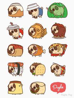 Pugs in food. Pug Kawaii, Kawaii Art, Stickers Kawaii, Cute Stickers, Cute Kawaii Drawings, Cute Animal Drawings, Pug Cartoon, Pug Art, Dibujos Cute