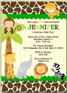 Personalized Jungle Monkey Baby Shower Invitation http