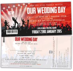 concert themed wedding invitations with tear off stubs for the RSVP cards!