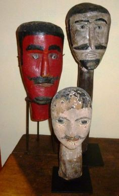 """Judas or Gigante Heads  Haunting effigies with sculpted heads of """"Judas"""" or """"Gigantes"""" are part of Guatemala's Mayan/Christian Holy Week pageants."""