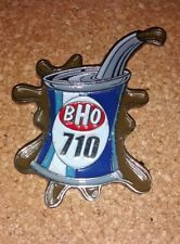"""BHO 710"" pin, Dab hat pin, Beautiful design of an oil can labeled ""BHO 710"""