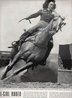 tight on the barrell, notice she closed her eyes, trust in her horse, vintage cowgirl rodeo texas 1948 advertisement. Vintage Western Wear, Vintage Cowgirl, Western Art, Western Crafts, Western Decor, Cowboy Up, Cowboy And Cowgirl, Cowgirl Style, Cowgirl Chic