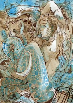 Sea Snake # 002 by nati - great sepia ink and watercolor art piece - 21 x 30cm