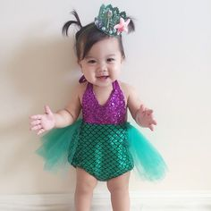 How adorable is Esme in our so loved mermaid sparkle romper! Mermaid Birthday Outfit, Little Mermaid Birthday, Little Mermaid Parties, Baby First Birthday, 2nd Birthday Parties, The Little Mermaid, Girl Birthday, Birthday Swimsuit, Baby Mermaid Outfit