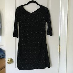 Express Dress with sequins  Black dress from Express has a side zipper, stretchy material, and sequin silver rhinestones. Worn once to a cocktail party. I'm 5'4 hits right above my knee. Express Dresses Midi
