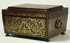 A Dramatically shaped Regency  brass inlaid Rosewood  box with fitted  tray, circa 1830. Enlarge Picture