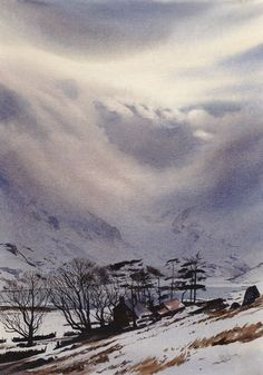 Drama over the Ogwen, an original watercolour painting by Rob Piercy Watercolor Painting Techniques, Watercolor Artists, Watercolor Landscape, Watercolor And Ink, Watercolour Painting, Landscape Art, Landscape Paintings, Watercolours, Painting Snow