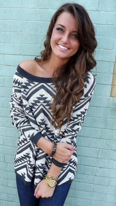 Cozy Aztec Sweater in Charcoal