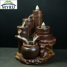 Creative Purple Clay Ceramic Backflow Incense Burner Good Luck Censer Creative Home Decoration