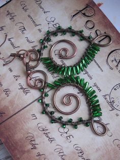 Green Feather earrings  - Wire Wrapped Copper Spiral Earrings - Forest Greeen-  Porcupine Earrings - Whimsical Artisan Shiny Wings
