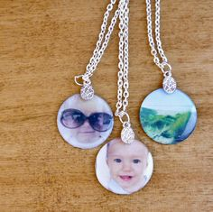 Cute and Easy DIY Photo Pendant Necklaces - when I have time, I am going to do this. :)