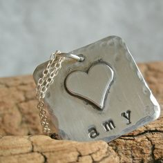 Hand stamped Mommy Necklace   Heartfelt by Whimsicalheartstring